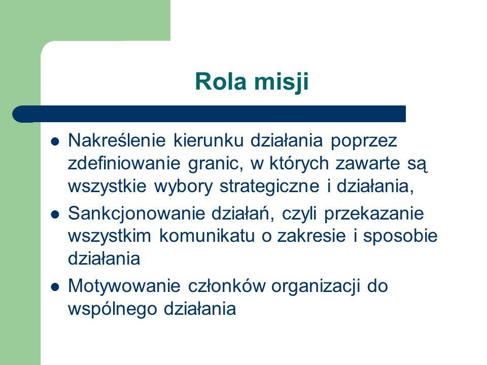 Rola misji Nakreślenie kierunku działania poprzez zdefiniowanie granic, w których zawarte są wszystkie wybory strategiczne i działania, Sankcjonowanie