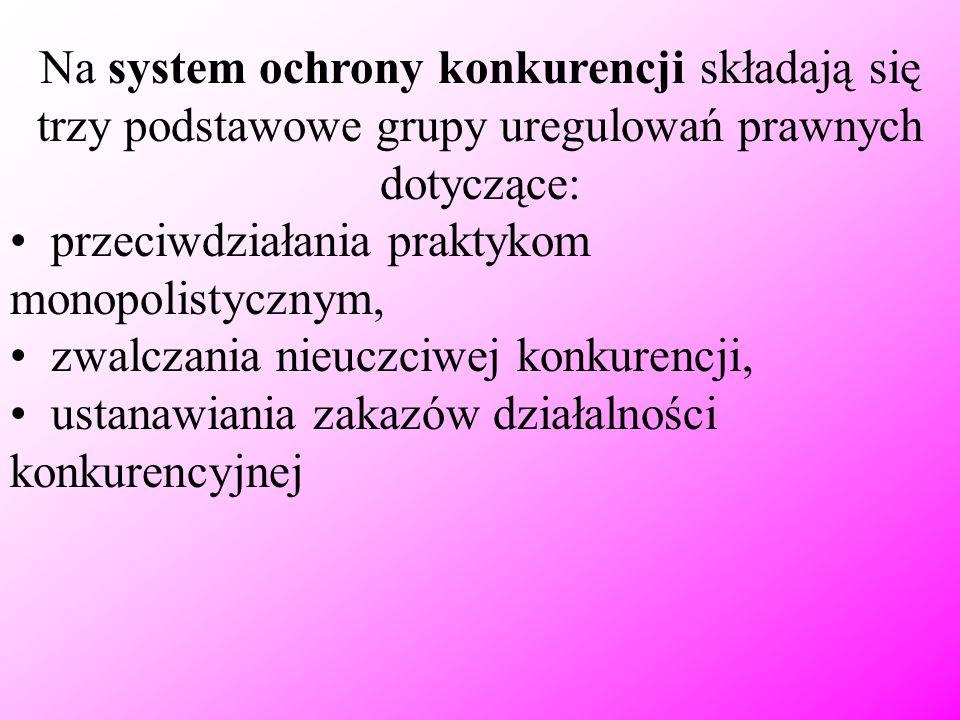 Na system ochrony konkurencji składają się trzy podstawowe grupy uregulowań prawnych dotyczące: przeciwdziałania praktykom monopolistycznym, zwalczani