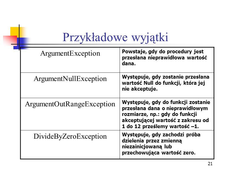21 Przykładowe wyjątki ArgumentException Powstaje, gdy do procedury jest przesłana nieprawidłowa wartość dana. ArgumentNullException Występuje, gdy zo