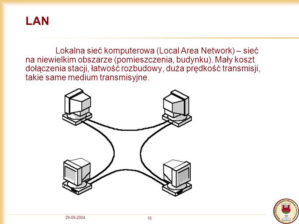 29-09-2004 10 LAN Lokalna sieć komputerowa (Local Area Network) – sieć na niewielkim obszarze (pomieszczenia, budynku). Mały koszt dołączenia stacji,