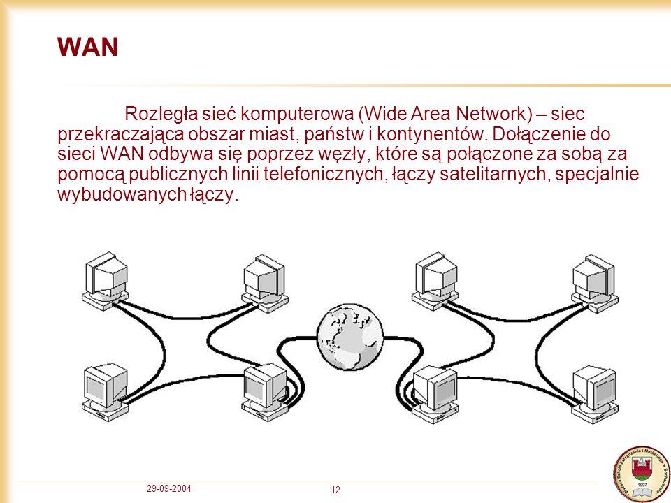 29-09-2004 12 WAN Rozległa sieć komputerowa (Wide Area Network) – siec przekraczająca obszar miast, państw i kontynentów. Dołączenie do sieci WAN odby