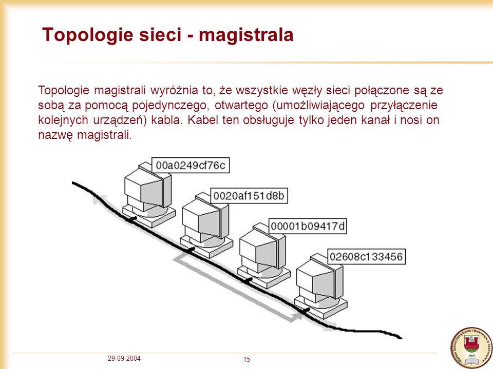 29-09-2004 15 Topologie sieci - magistrala Topologie magistrali wyróżnia to, że wszystkie węzły sieci połączone są ze sobą za pomocą pojedynczego, otw