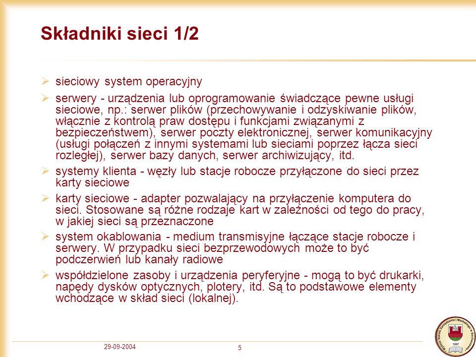 29-09-2004 5 Składniki sieci 1/2 sieciowy system operacyjny serwery - urządzenia lub oprogramowanie świadczące pewne usługi sieciowe, np.: serwer plik