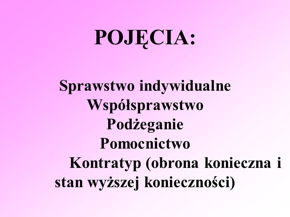 POJĘCIA: Sprawstwo indywidualne Współsprawstwo Podżeganie Pomocnictwo Kontratyp (obrona konieczna i stan wyższej konieczności)