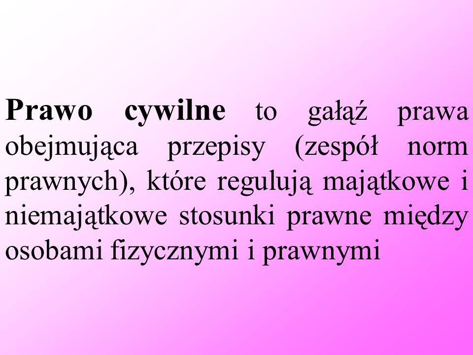 Prawo cywilne to gałąź prawa obejmująca przepisy (zespół norm prawnych), które regulują majątkowe i niemajątkowe stosunki prawne między osobami fizycz