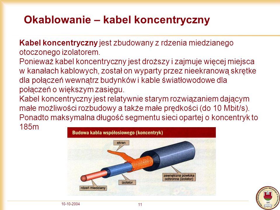 10-10-2004 11 Okablowanie – kabel koncentryczny Kabel koncentryczny jest zbudowany z rdzenia miedzianego otoczonego izolatorem. Ponieważ kabel koncent