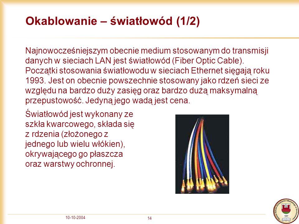 10-10-2004 14 Okablowanie – światłowód (1/2) Najnowocześniejszym obecnie medium stosowanym do transmisji danych w sieciach LAN jest światłowód (Fiber