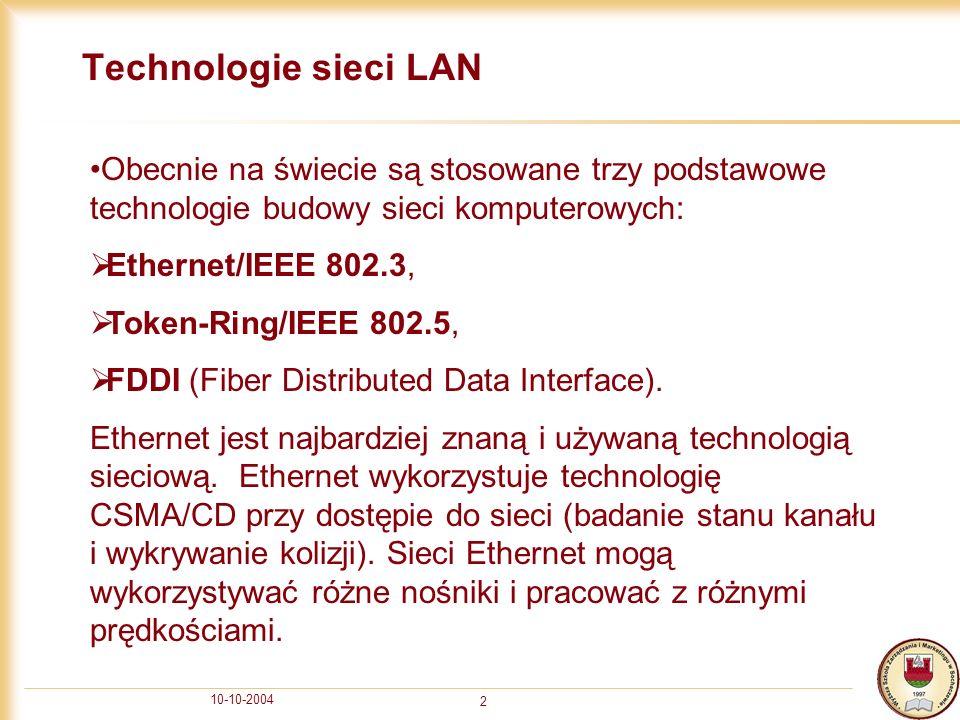 10-10-2004 2 Technologie sieci LAN Obecnie na świecie są stosowane trzy podstawowe technologie budowy sieci komputerowych: Ethernet/IEEE 802.3, Token-