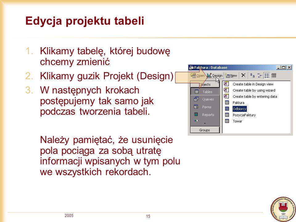 2005 15 Edycja projektu tabeli 1.Klikamy tabelę, której budowę chcemy zmienić 2.Klikamy guzik Projekt (Design) 3.W następnych krokach postępujemy tak
