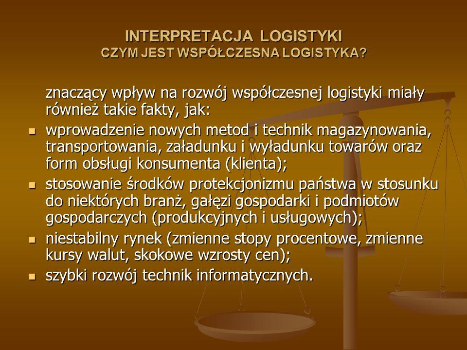 INTERPRETACJA LOGISTYKI CZYM JEST WSPÓŁCZESNA LOGISTYKA? znaczący wpływ na rozwój współczesnej logistyki miały również takie fakty, jak: wprowadzenie