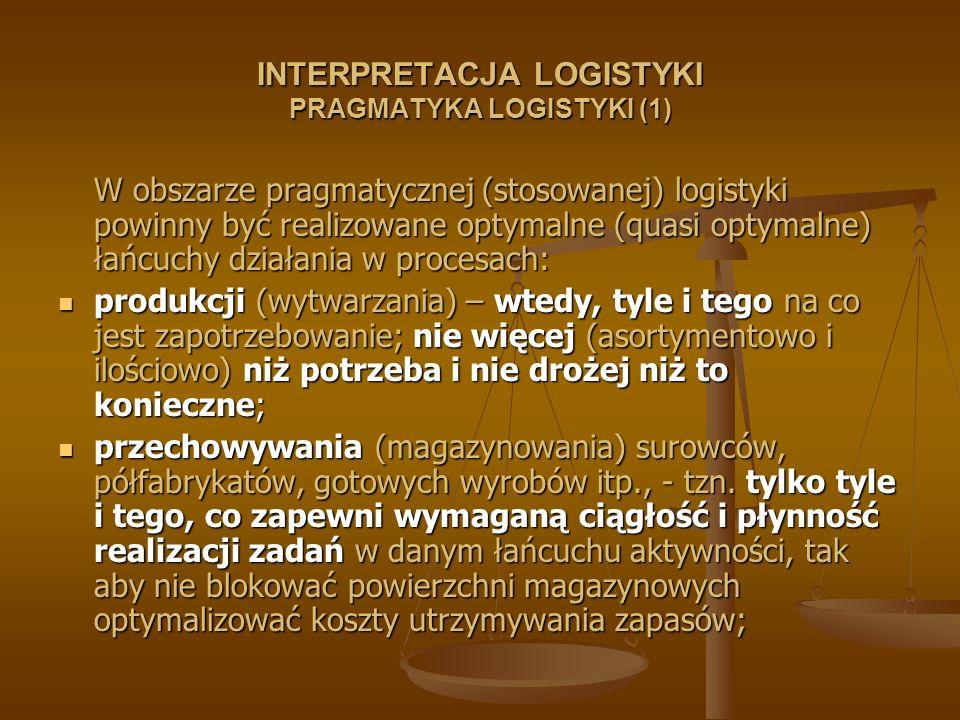 INTERPRETACJA LOGISTYKI PRAGMATYKA LOGISTYKI (1) W obszarze pragmatycznej (stosowanej) logistyki powinny być realizowane optymalne (quasi optymalne) ł