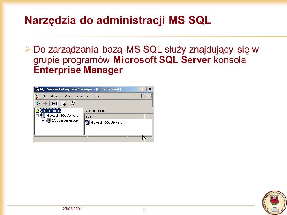 25/08/2001 3 Narzędzia do administracji MS SQL Do zarządzania bazą MS SQL służy znajdujący się w grupie programów Microsoft SQL Server konsola Enterprise Manager