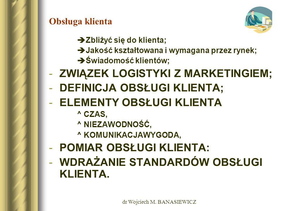 dr Wojciech M. BANASIEWICZ Obsługa klienta Zbliżyć się do klienta; Jakość kształtowana i wymagana przez rynek; Świadomość klientów; -ZWIĄZEK LOGISTYKI