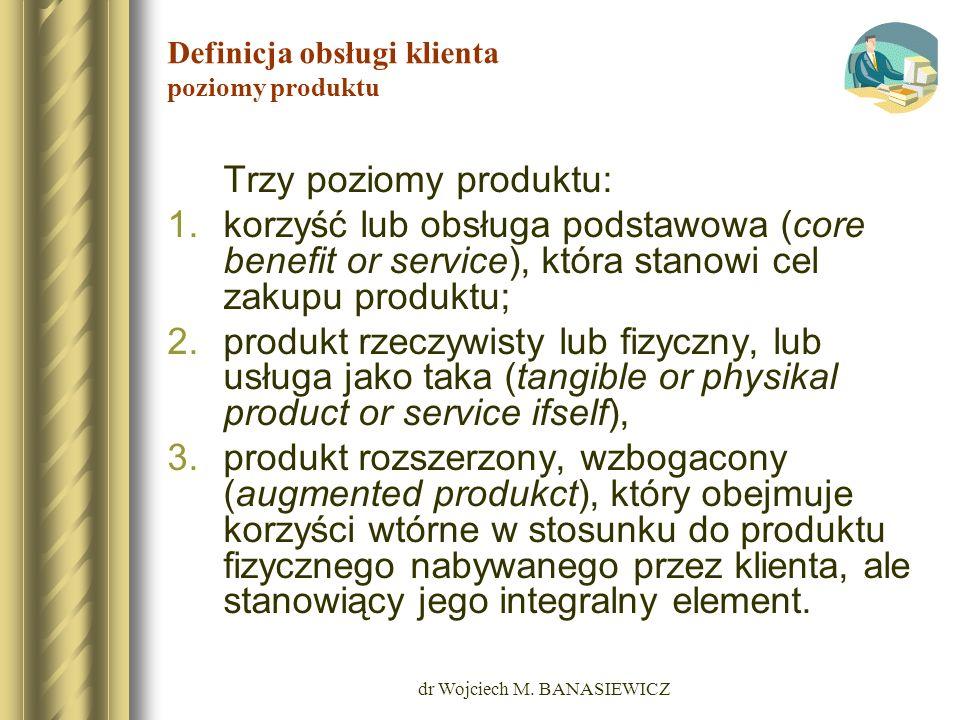 dr Wojciech M. BANASIEWICZ Definicja obsługi klienta poziomy produktu Trzy poziomy produktu: 1.korzyść lub obsługa podstawowa (core benefit or service