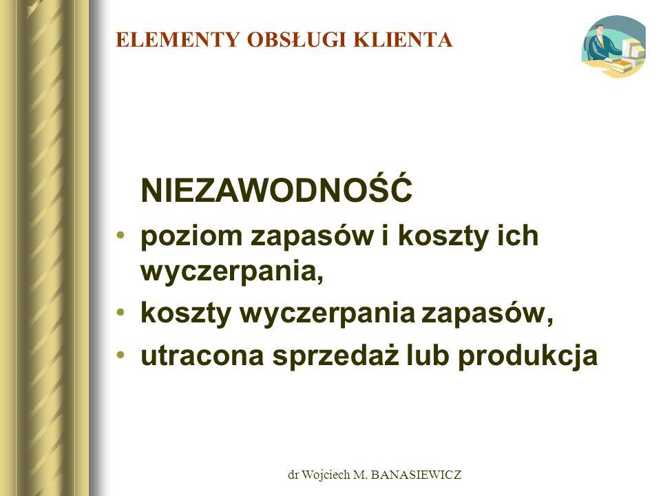 dr Wojciech M. BANASIEWICZ ELEMENTY OBSŁUGI KLIENTA NIEZAWODNOŚĆ poziom zapasów i koszty ich wyczerpania, koszty wyczerpania zapasów, utracona sprzeda