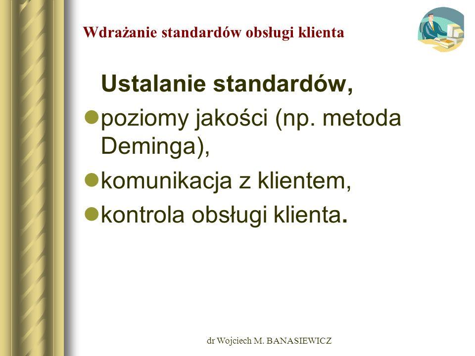 dr Wojciech M. BANASIEWICZ Wdrażanie standardów obsługi klienta Ustalanie standardów, poziomy jakości (np. metoda Deminga), komunikacja z klientem, ko