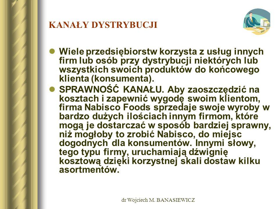 dr Wojciech M. BANASIEWICZ KANAŁY DYSTRYBUCJI Wiele przedsiębiorstw korzysta z usług innych firm lub osób przy dystrybucji niektórych lub wszystkich s