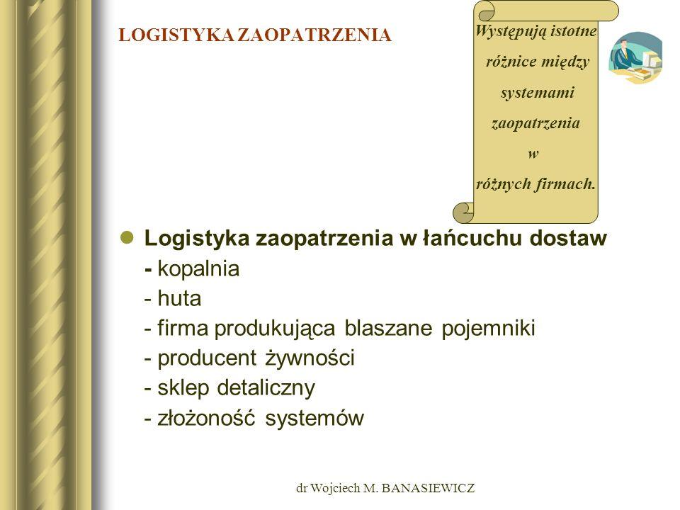 dr Wojciech M. BANASIEWICZ LOGISTYKA ZAOPATRZENIA Logistyka zaopatrzenia w łańcuchu dostaw - kopalnia - huta - firma produkująca blaszane pojemniki -
