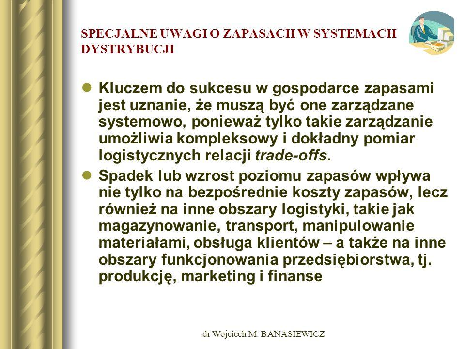 dr Wojciech M. BANASIEWICZ SPECJALNE UWAGI O ZAPASACH W SYSTEMACH DYSTRYBUCJI Kluczem do sukcesu w gospodarce zapasami jest uznanie, że muszą być one
