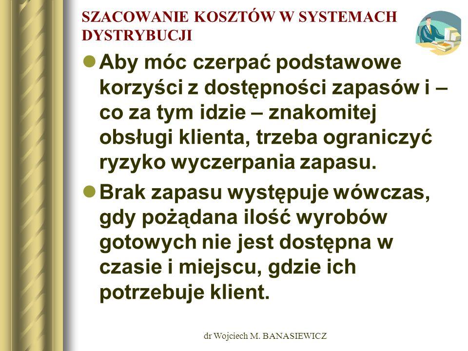 dr Wojciech M. BANASIEWICZ SZACOWANIE KOSZTÓW W SYSTEMACH DYSTRYBUCJI Aby móc czerpać podstawowe korzyści z dostępności zapasów i – co za tym idzie –