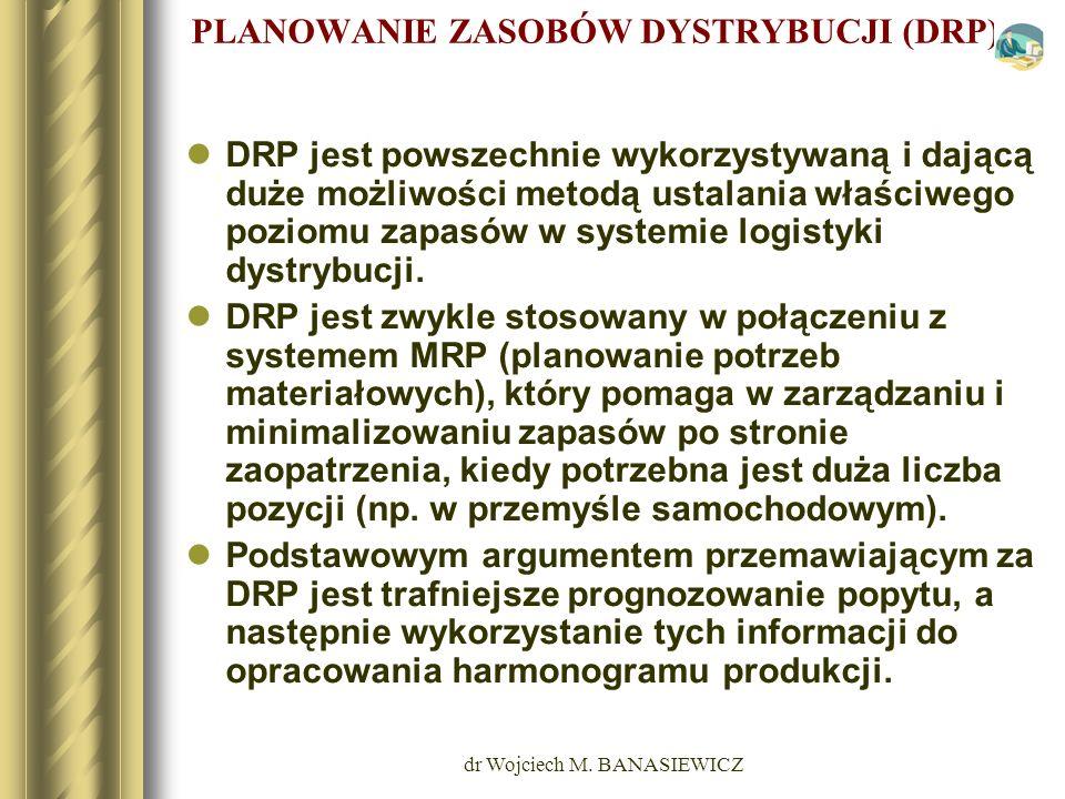 dr Wojciech M. BANASIEWICZ PLANOWANIE ZASOBÓW DYSTRYBUCJI (DRP) DRP jest powszechnie wykorzystywaną i dającą duże możliwości metodą ustalania właściwe