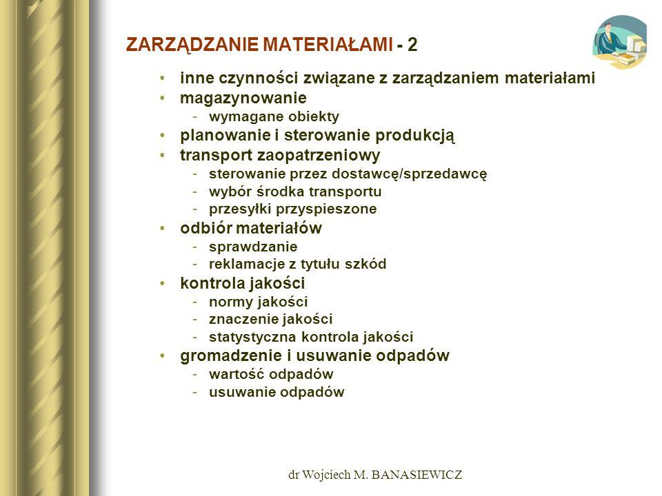 dr Wojciech M. BANASIEWICZ ZARZĄDZANIE MATERIAŁAMI - 2 inne czynności związane z zarządzaniem materiałami magazynowanie -wymagane obiekty planowanie i