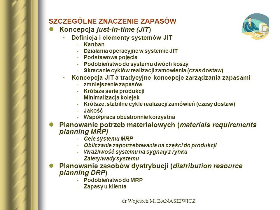 dr Wojciech M. BANASIEWICZ SZCZEGÓLNE ZNACZENIE ZAPASÓW Koncepcja just-in-time (JIT) Definicja i elementy systemów JIT -Kanban -Działania operacyjne w