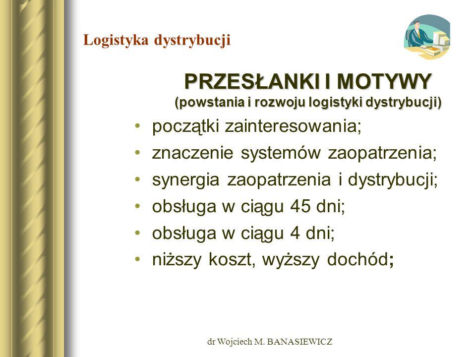 dr Wojciech M. BANASIEWICZ Logistyka dystrybucji PRZESŁANKI I MOTYWY (powstania i rozwoju logistyki dystrybucji) początki zainteresowania; znaczenie s