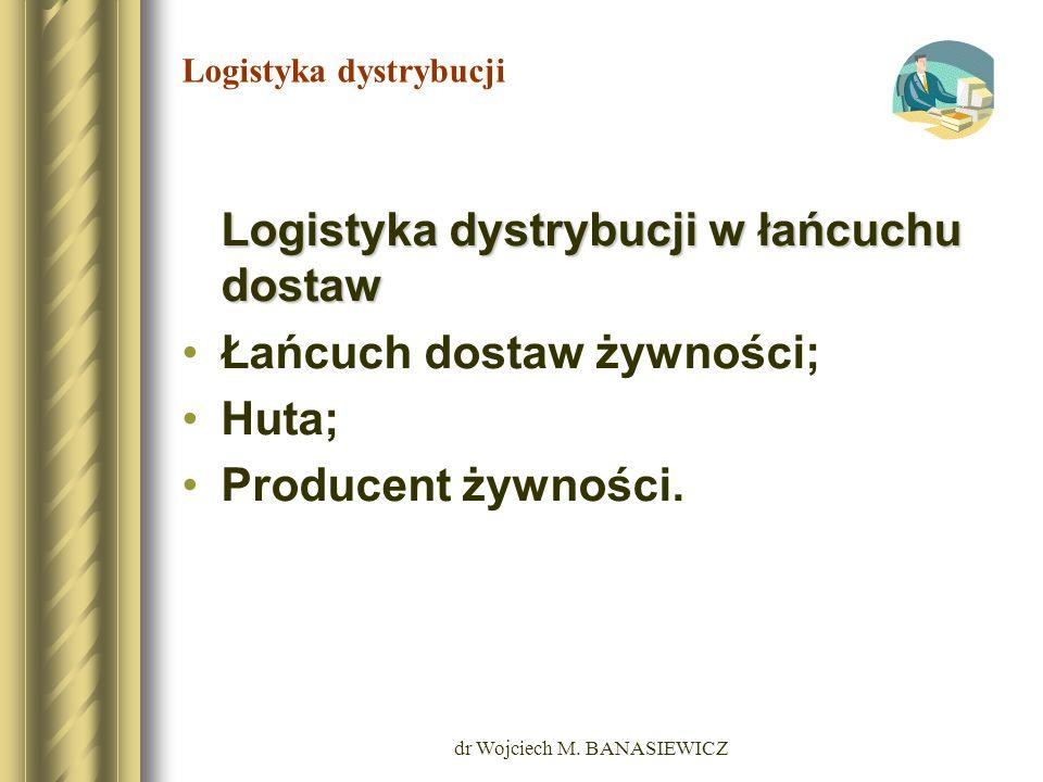 dr Wojciech M. BANASIEWICZ Logistyka dystrybucji Logistyka dystrybucji w łańcuchu dostaw Łańcuch dostaw żywności; Huta; Producent żywności.