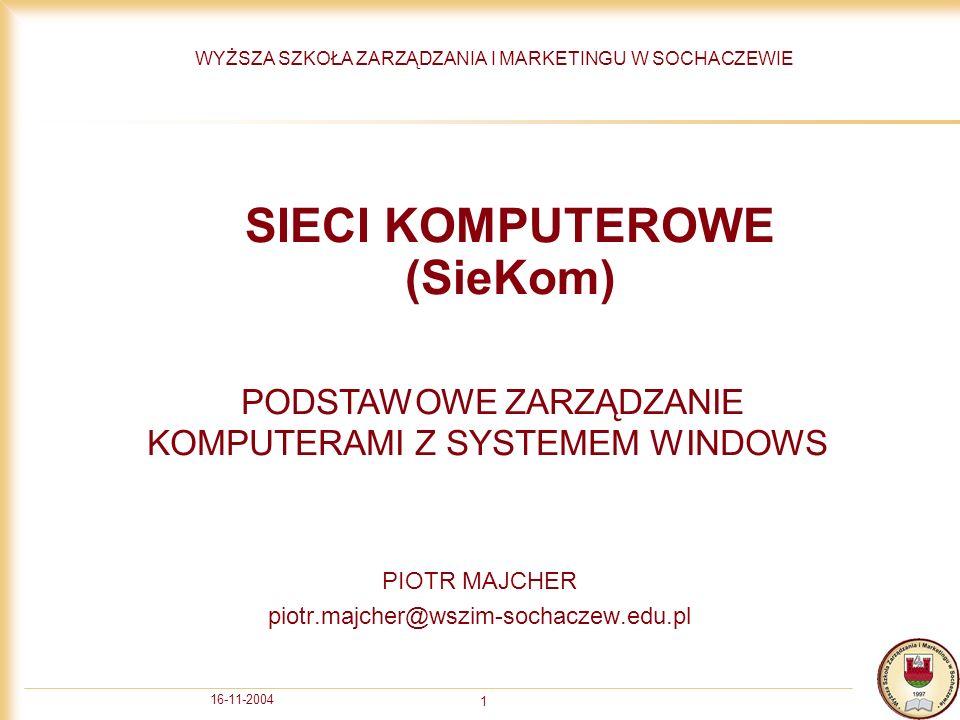 16-11-2004 2 Sprawdzanie nazwy komputera Aby sprawdzić nazwę komputera należy kliknąć prawym przyciskiem na ikonie Mój Komputer i wybrać właściwości (properties) a następnie zakładkę Nazwa Komputera.