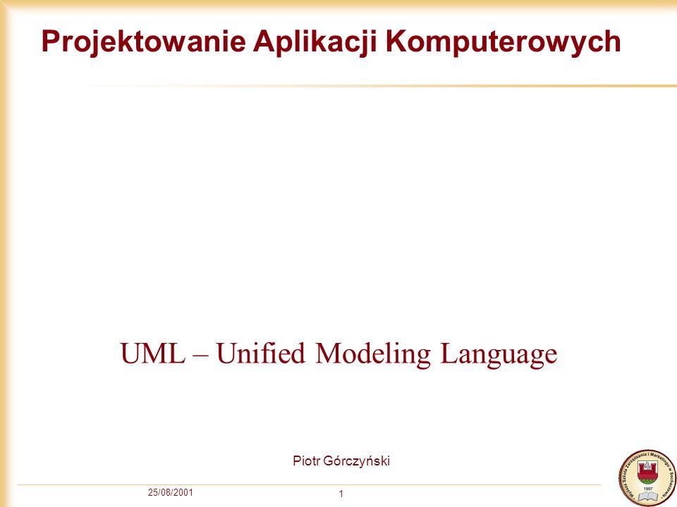 25/08/2001 1 Projektowanie Aplikacji Komputerowych Piotr Górczyński UML – Unified Modeling Language