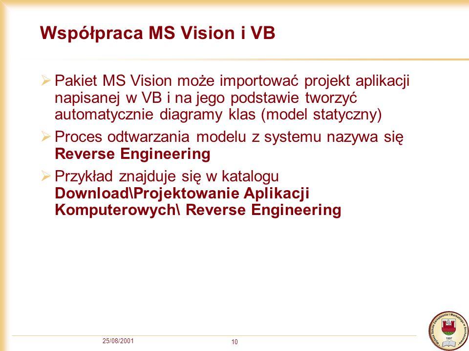 25/08/2001 10 Współpraca MS Vision i VB Pakiet MS Vision może importować projekt aplikacji napisanej w VB i na jego podstawie tworzyć automatycznie di