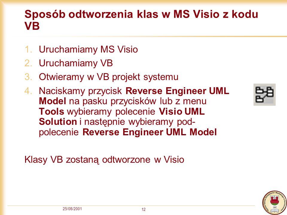 25/08/2001 12 Sposób odtworzenia klas w MS Visio z kodu VB 1.Uruchamiamy MS Visio 2.Uruchamiamy VB 3.Otwieramy w VB projekt systemu 4.Naciskamy przyci