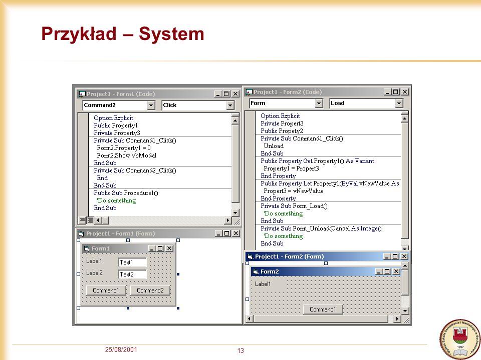 25/08/2001 13 Przykład – System