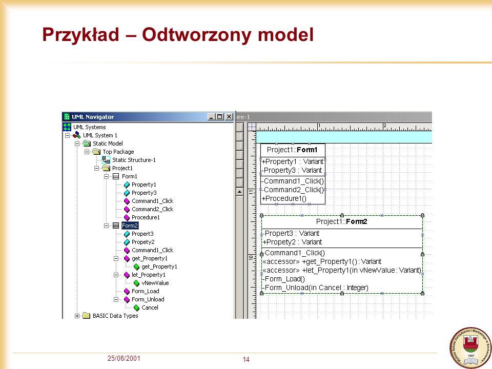 25/08/2001 14 Przykład – Odtworzony model