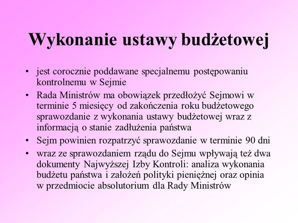 Wykonanie ustawy budżetowej jest corocznie poddawane specjalnemu postępowaniu kontrolnemu w Sejmie Rada Ministrów ma obowiązek przedłożyć Sejmowi w te