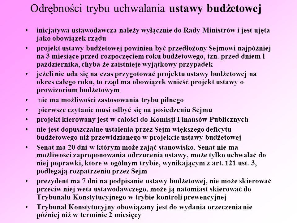 Wykonanie ustawy budżetowej jest corocznie poddawane specjalnemu postępowaniu kontrolnemu w Sejmie Rada Ministrów ma obowiązek przedłożyć Sejmowi w terminie 5 miesięcy od zakończenia roku budżetowego sprawozdanie z wykonania ustawy budżetowej wraz z informacją o stanie zadłużenia państwa Sejm powinien rozpatrzyć sprawozdanie w terminie 90 dni wraz ze sprawozdaniem rządu do Sejmu wpływają też dwa dokumenty Najwyższej Izby Kontroli: analiza wykonania budżetu państwa i założeń polityki pieniężnej oraz opinia w przedmiocie absolutorium dla Rady Ministrów