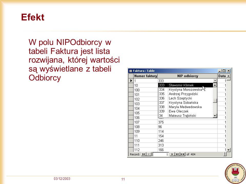 03/12/2003 11 Efekt W polu NIPOdbiorcy w tabeli Faktura jest lista rozwijana, której wartości są wyświetlane z tabeli Odbiorcy