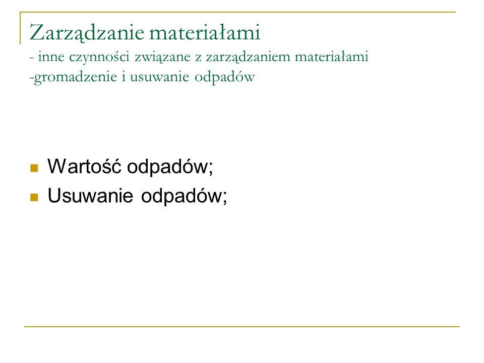 Zarządzanie materiałami - inne czynności związane z zarządzaniem materiałami -gromadzenie i usuwanie odpadów Wartość odpadów; Usuwanie odpadów;