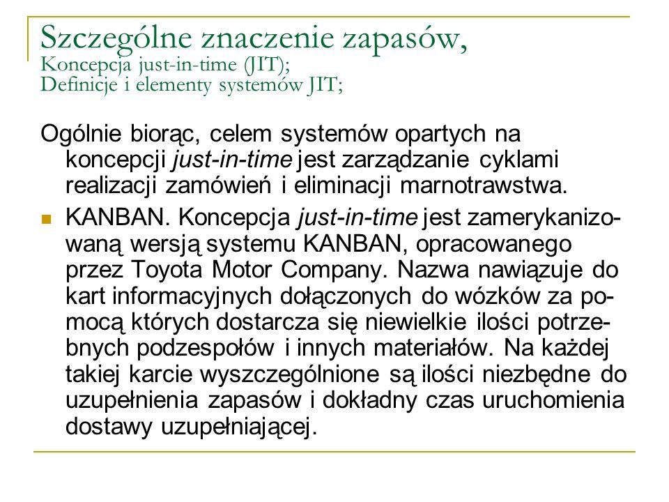 Szczególne znaczenie zapasów, Koncepcja just-in-time (JIT); Definicje i elementy systemów JIT; Ogólnie biorąc, celem systemów opartych na koncepcji ju