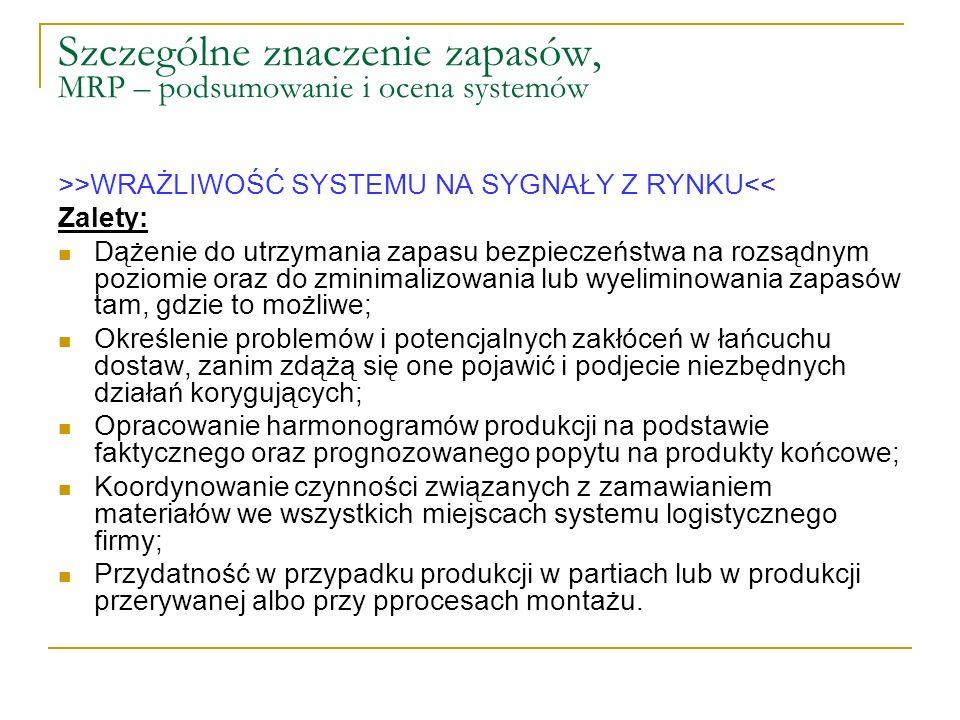 Szczególne znaczenie zapasów, MRP – podsumowanie i ocena systemów >>WRAŻLIWOŚĆ SYSTEMU NA SYGNAŁY Z RYNKU<< Zalety: Dążenie do utrzymania zapasu bezpi