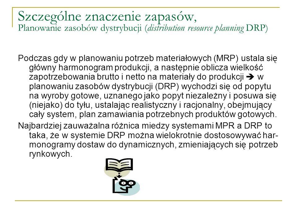 Szczególne znaczenie zapasów, Planowanie zasobów dystrybucji (distribution resource planning DRP) Podczas gdy w planowaniu potrzeb materiałowych (MRP)