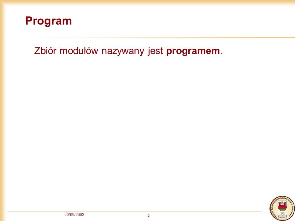 20/09/2003 5 Program Zbiór modułów nazywany jest programem.