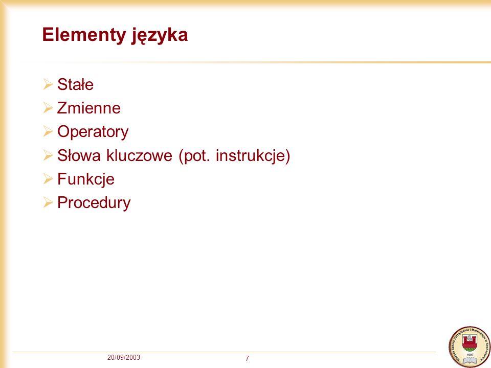 20/09/2003 7 Elementy języka Stałe Zmienne Operatory Słowa kluczowe (pot.