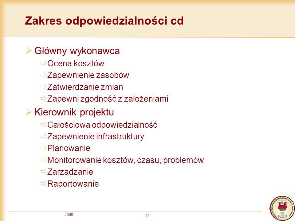 2008 11 Zakres odpowiedzialności cd Główny wykonawca Ocena kosztów Zapewnienie zasobów Zatwierdzanie zmian Zapewni zgodność z założeniami Kierownik pr