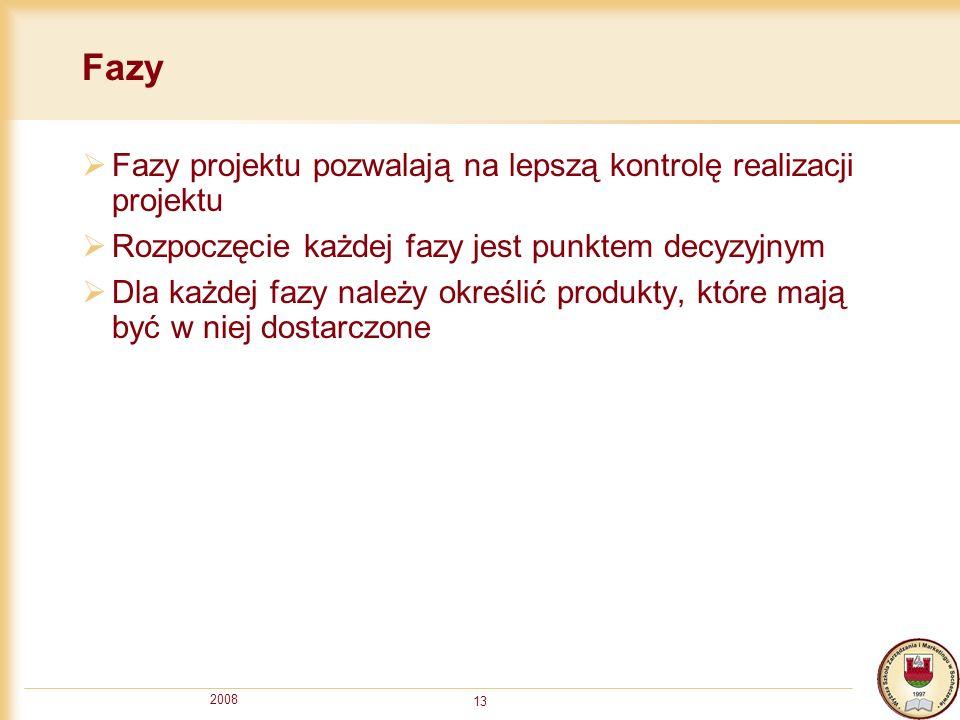 2008 13 Fazy Fazy projektu pozwalają na lepszą kontrolę realizacji projektu Rozpoczęcie każdej fazy jest punktem decyzyjnym Dla każdej fazy należy okr
