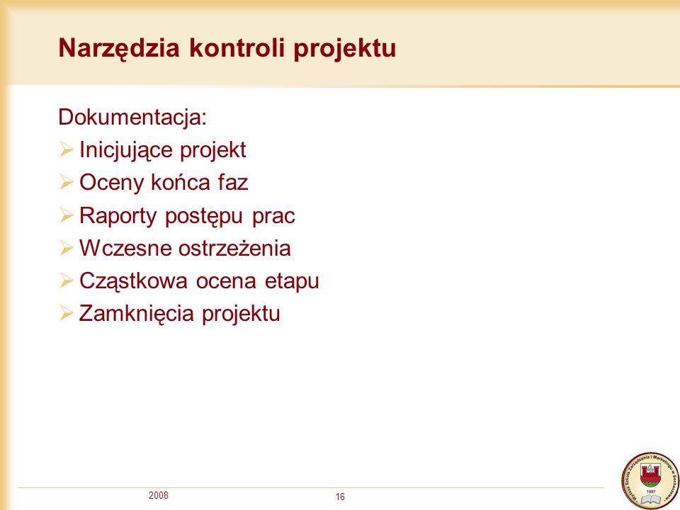 2008 16 Narzędzia kontroli projektu Dokumentacja: Inicjujące projekt Oceny końca faz Raporty postępu prac Wczesne ostrzeżenia Cząstkowa ocena etapu Za
