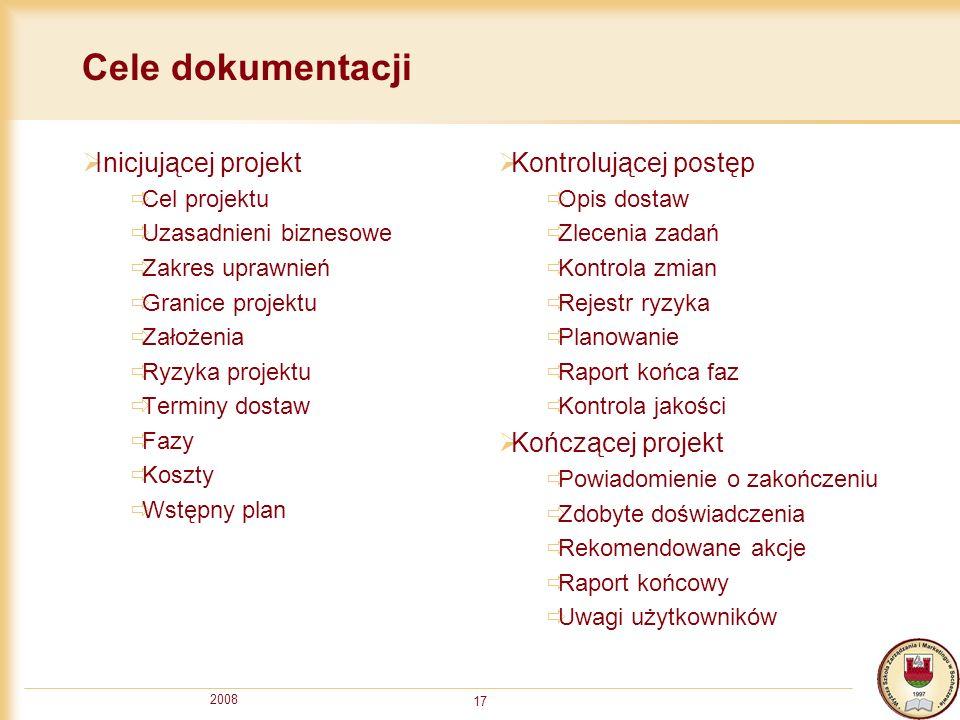 2008 17 Cele dokumentacji Inicjującej projekt Cel projektu Uzasadnieni biznesowe Zakres uprawnień Granice projektu Założenia Ryzyka projektu Terminy d