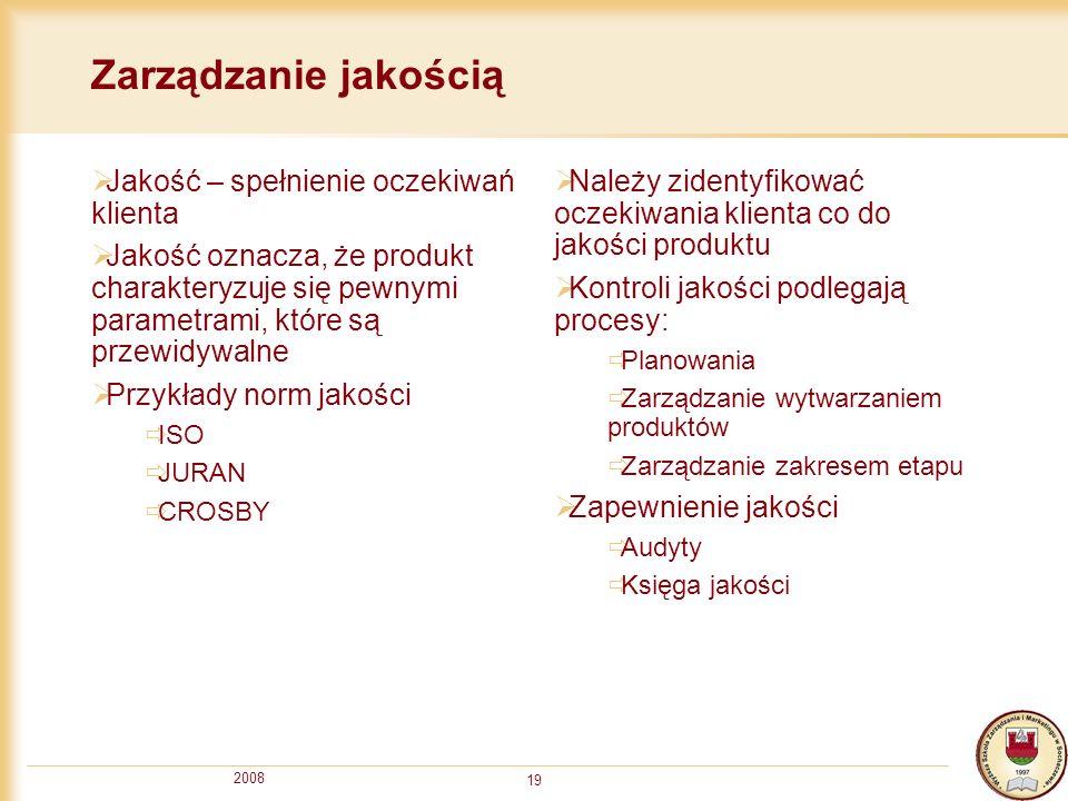 2008 19 Zarządzanie jakością Jakość – spełnienie oczekiwań klienta Jakość oznacza, że produkt charakteryzuje się pewnymi parametrami, które są przewid