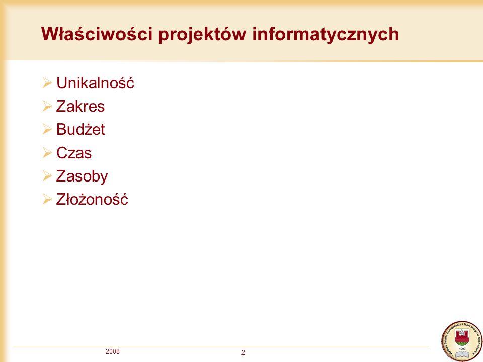 2008 2 Właściwości projektów informatycznych Unikalność Zakres Budżet Czas Zasoby Złożoność